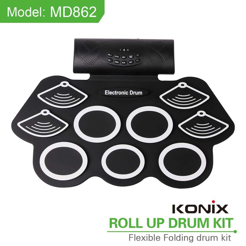 Flexible Silicon Roll Up Drum Kit with Libattery and Speaker Inside for Musical Entertainment