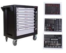 Kraftmax Workshop Trolley with 7 Drawers tool cabinet with hand tool set, Cabinet with Stainless steel,car repair tools set