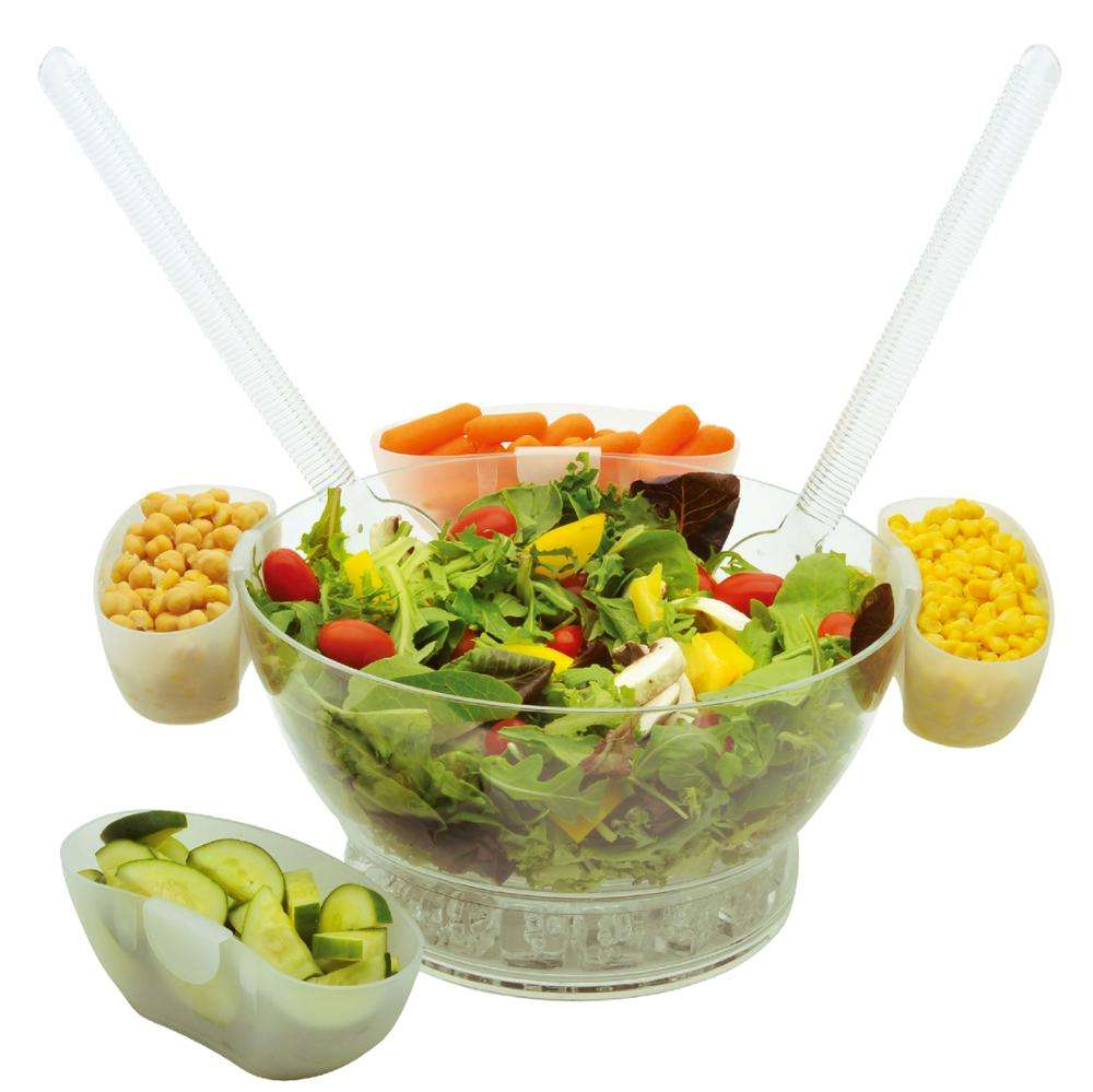 Acrylic Ice Chilled Serving Salad Bowl with 4 Removable Bowls