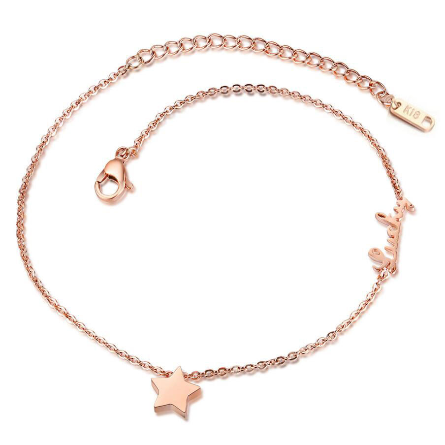 Romantic Star + Lucky Woman Anklets Fashion Rose Gold Plated Stainless Steel Delicate Women Jewelry Ankle Bracelets
