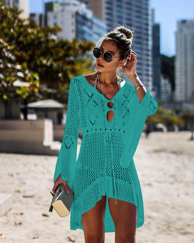2019 Sexy Beach Dress Cover Ups Hollow Crochet Knitted Beachwear Dresses Tunic Solid Long Pareos Summer See-through Sundress