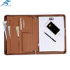 leather material handmade business notepad with zipper