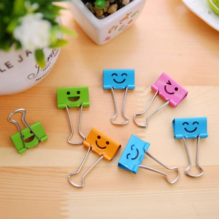 Food Bag Note Smile Face Metal Binder Clip
