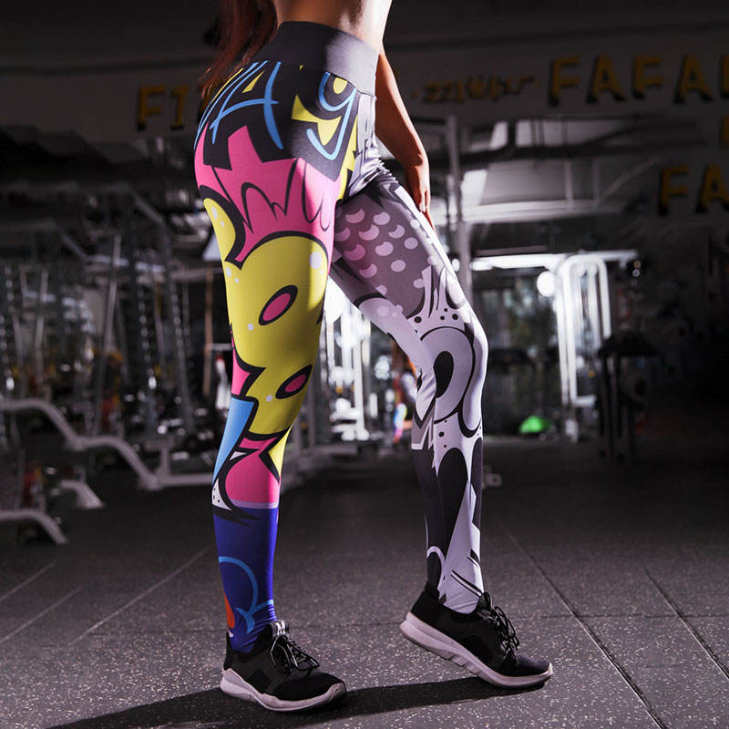 Cartoon pattern 3D printing personality high waist yoga pants sports leggings for women