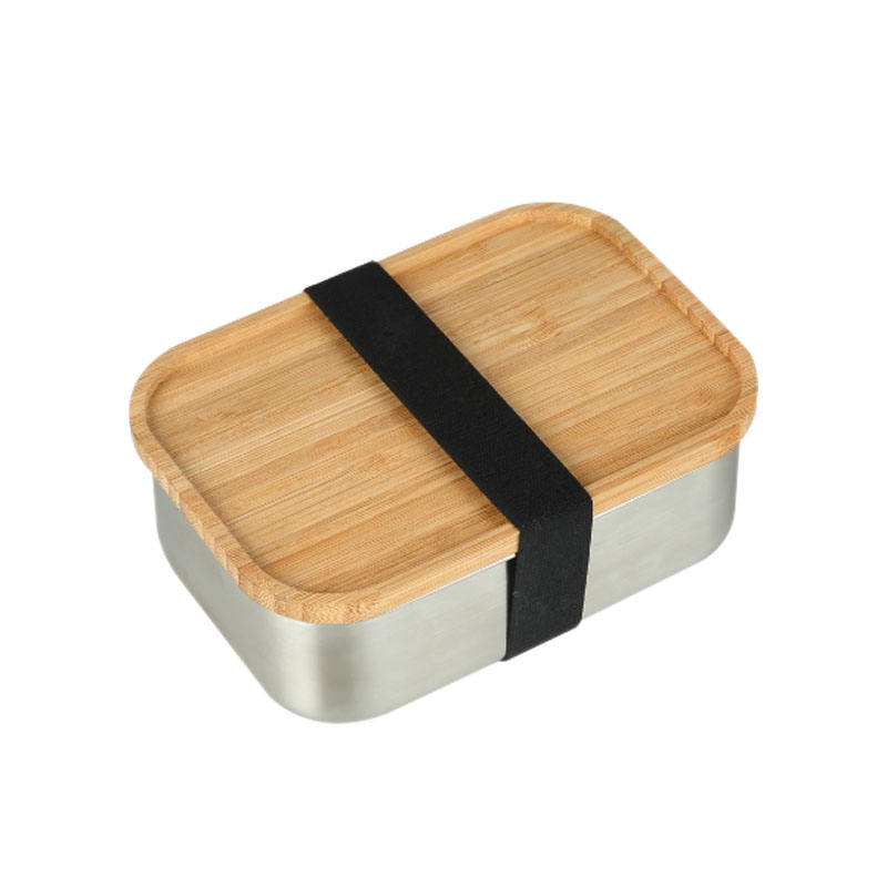 Eco friendly bamboo lip metal bento lunch box School Stainless Steel Lunch Containers camping bento Box