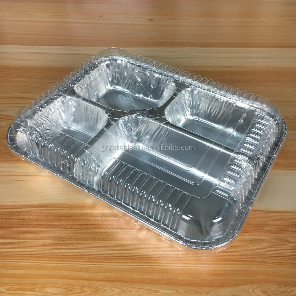 750ml Rectangular 4 compartments Aluminum foil fast food service packing containers with clear plastic lid