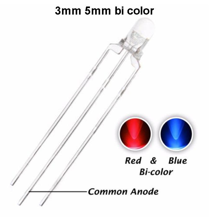 Umum Anoda Katoda Umum 3 Pin 3 Mm 5 Mm Bicolor LED Diode
