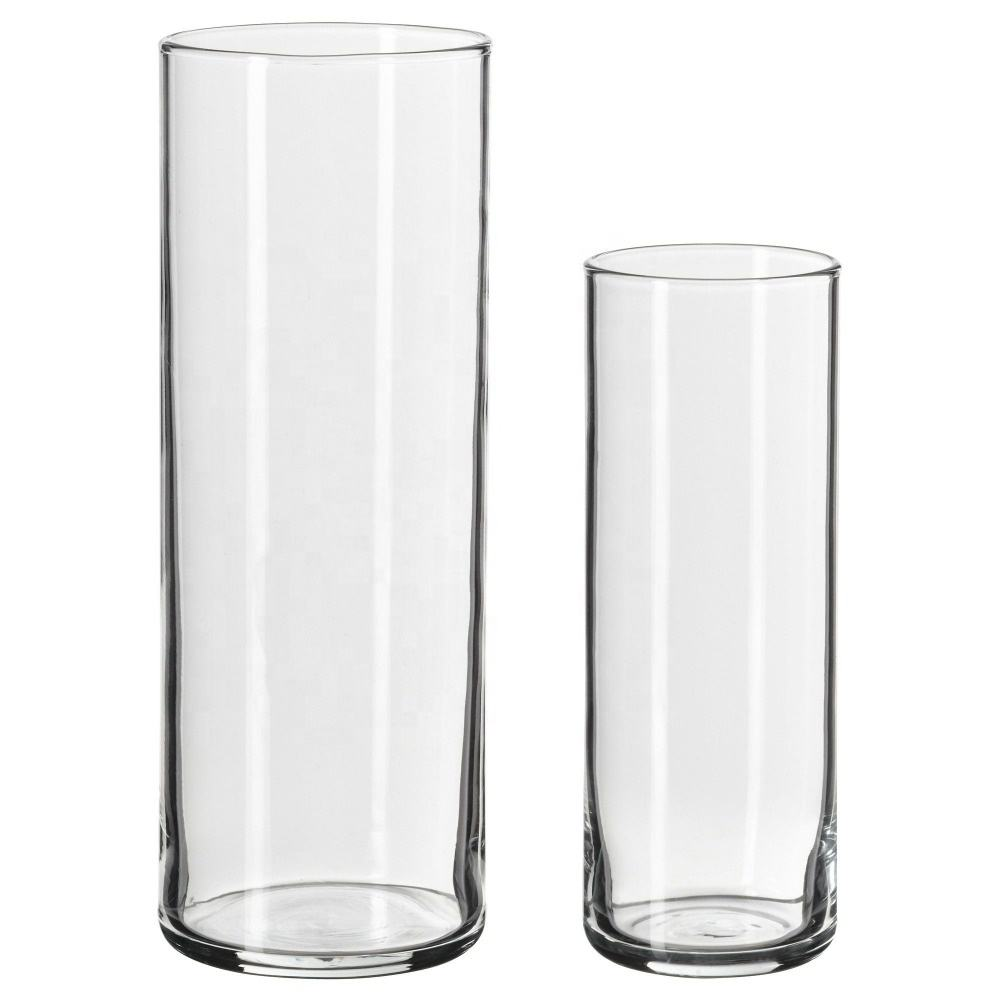wholesale houseware cheap clear elegant cylinder customized glass vase for decoration