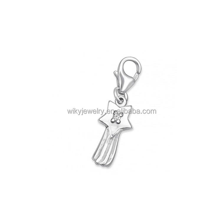ATHENAA Silver Star Incrustation Zircone S925 Clip en Argent Sterling sur Charmes