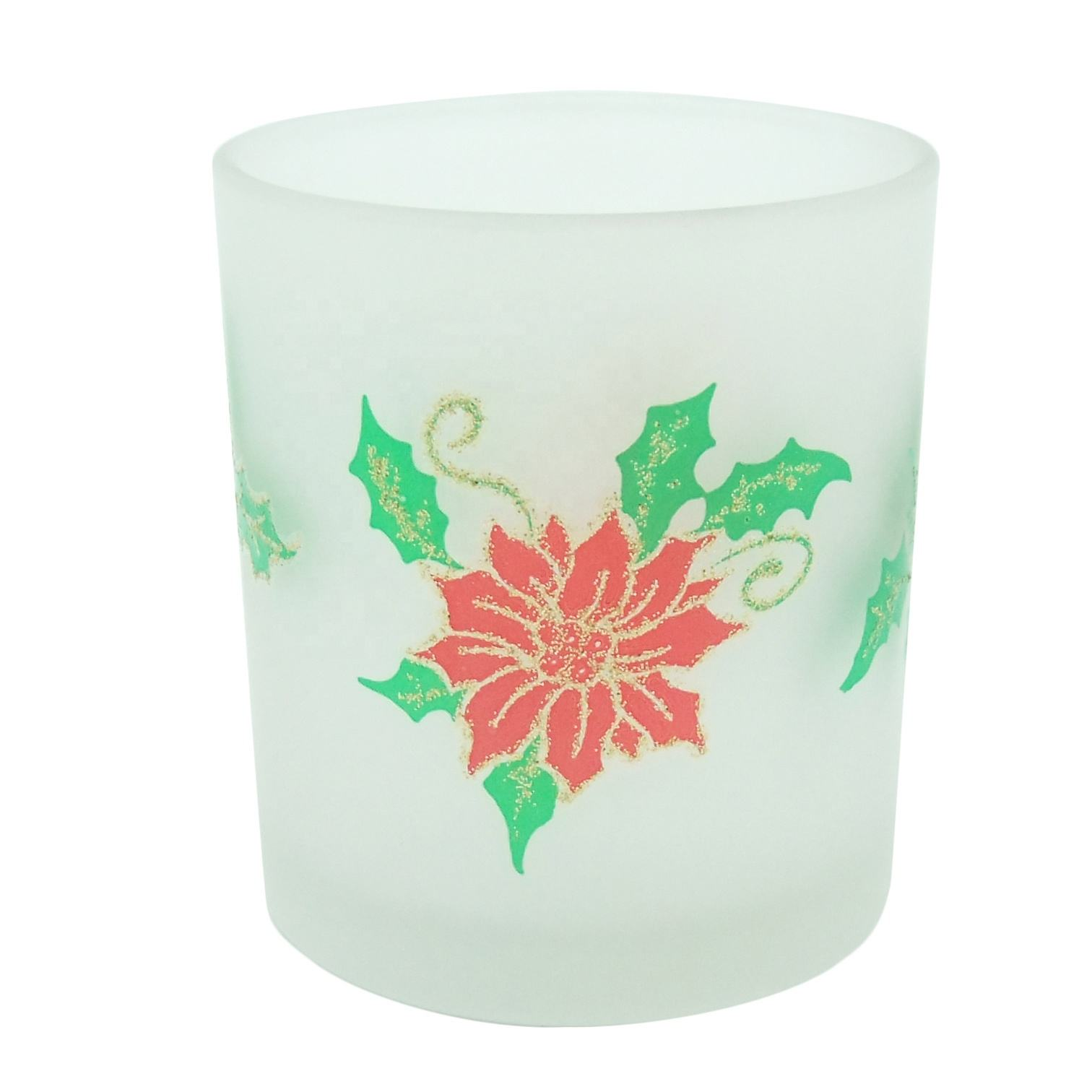 8oz frosted candle glass jars flower decorative votive candle holders for Christmas Haodexin