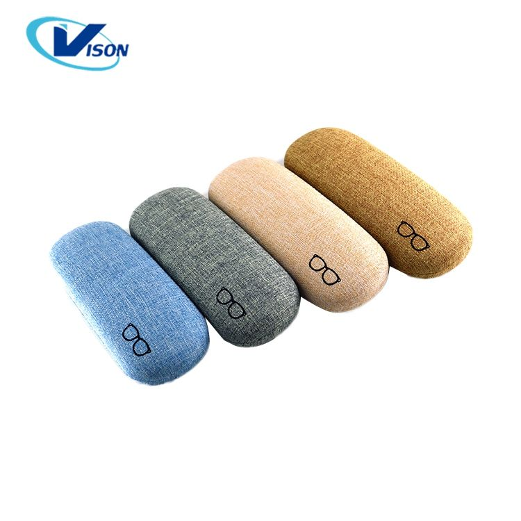 Custom Optical Glasses Case Simple Cloth Surface Reading Shoe Shape Leather Metal Hard Glasses Case