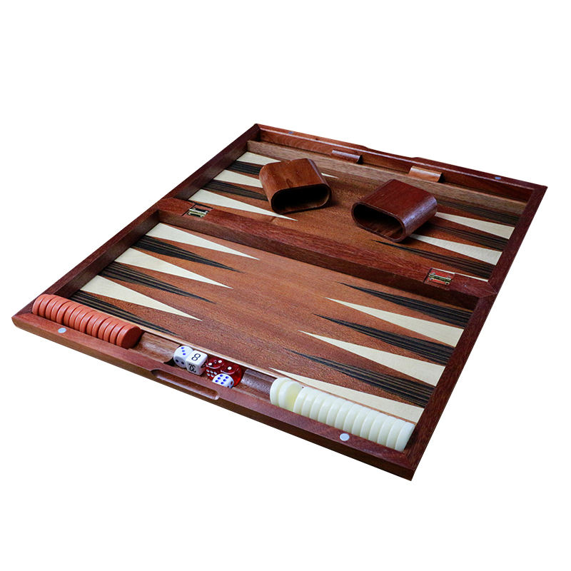 custom wooden backgammon set with dice cup