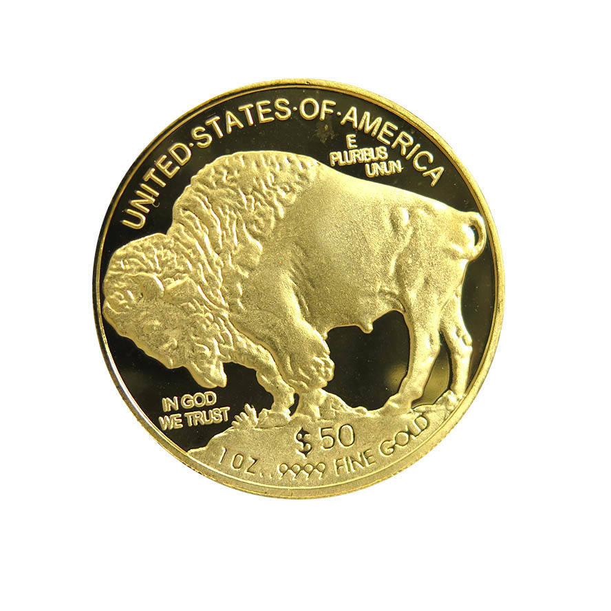 Old coins souvenir coin 1 oz .100 Mills Gold Plated Buffalo Indian Head Replica $50 Dollar Round coin with good price