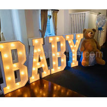 Baby kids children birthday party supplies decorations, light up marquee letters balloons