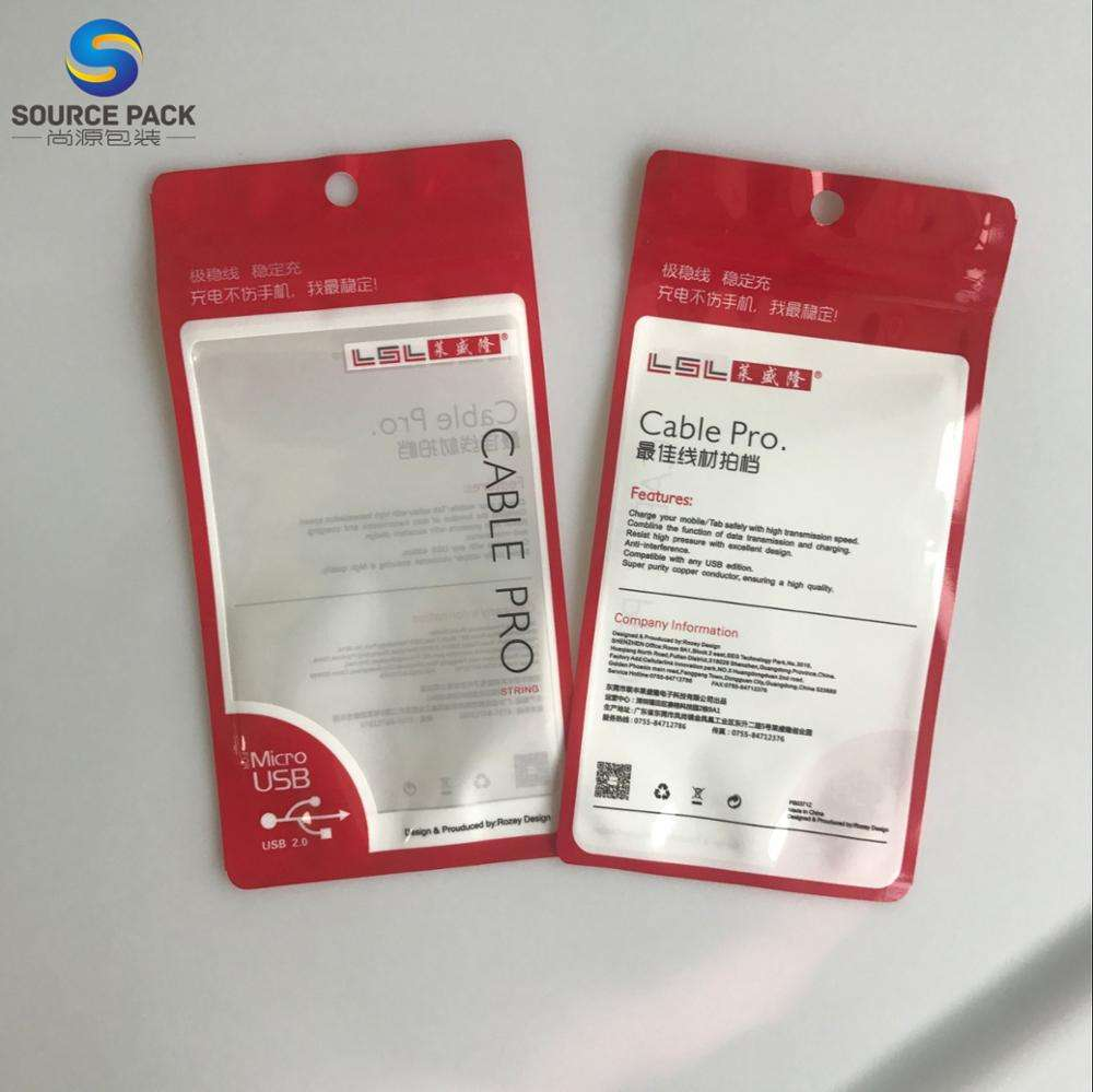 Three Side Seal Plastic Front Clear Usb Date charging Cable Packaging bag