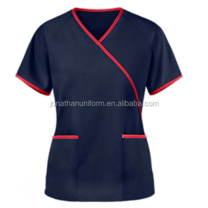 OEM custom style 100% cotton y-neck mock wrap medical female nurse uniform scrub top