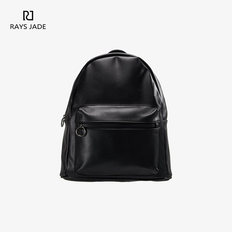 Small quantity cheap unisex black middle size pu backpack bag (AX-019)