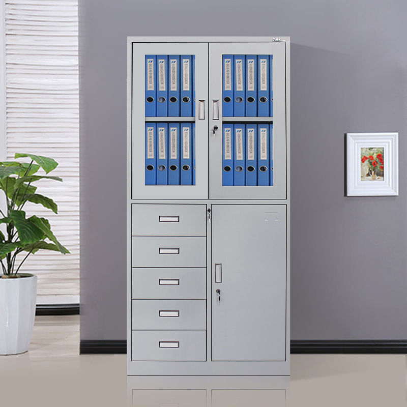 Modern design glass door filing cabinet office cupboard down 5 drawers metal material cabinet