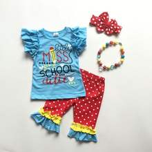 baby girls summer outfits back to school clothing children blue top red polka trousers with ruffle with accessories