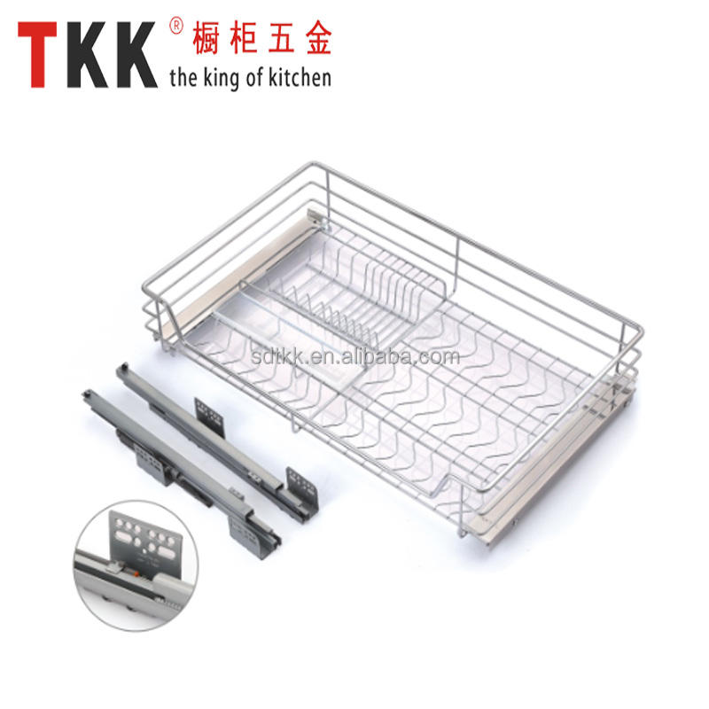 TKK kitchen cabinet fittings soft stop four side three side drawer basket pull out basket from China Factory