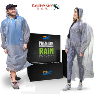 Disposable premium quality Rain Ponchos with HOOD Straps and SLEEVES rain guard poncho