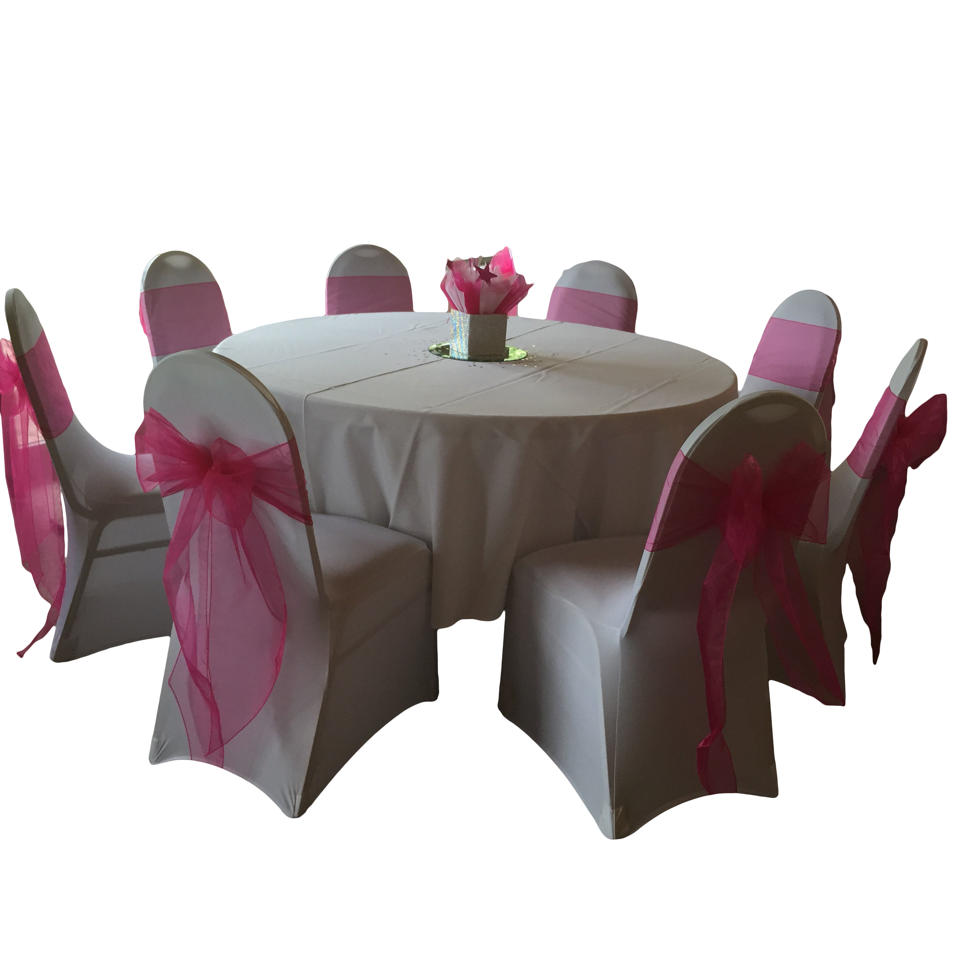 PARTY BANQUET DECOR FUCHSIA PINK WEDDING ORGANZA CHAIR SASHES BOW SASH