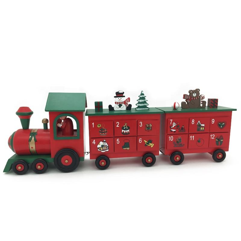 Christmas Wooden Advent Calendar Train Decoration for Children Gift