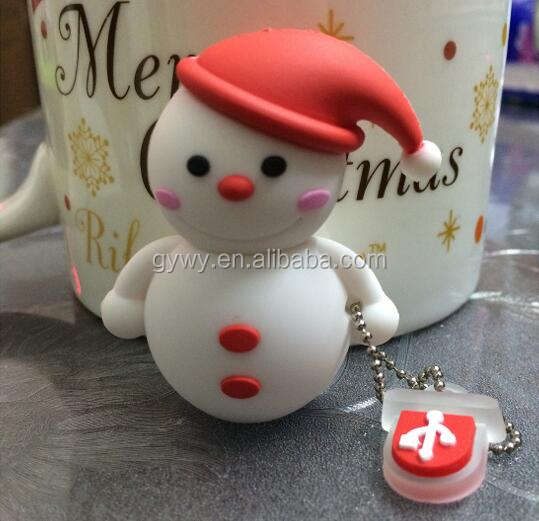 Cartoon USB 2.0 2GB,4GB,8GB,16GB,32GB silicon snowman USB flash drive for Christmas Day