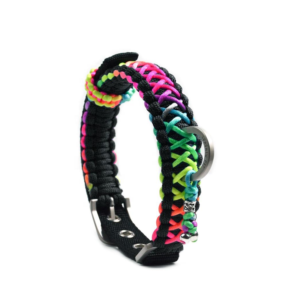 Custom Paracord Bracelet Handmade OEM Pet Dog Collars Leashes Rainbow Design Adjustable Nylon Dog Collar and Leash