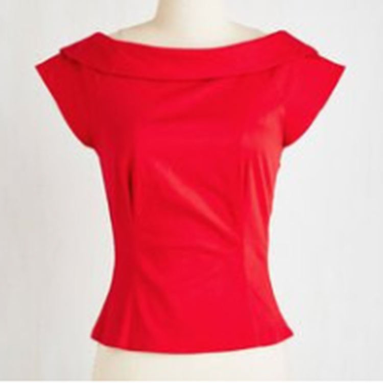 retro vintage inspired women clothing red pin up shirt tops 50s design for party