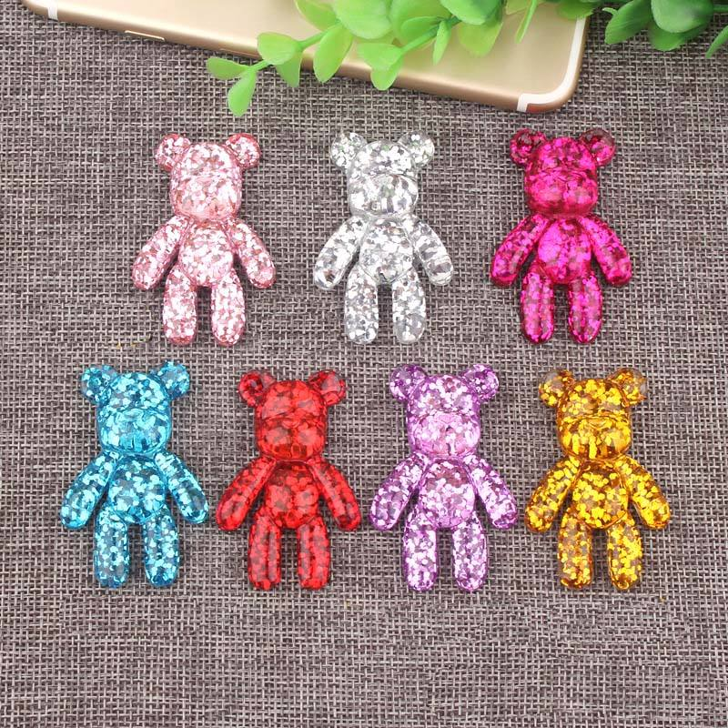 34*51mm Bear Cabochon Glitter Resin Charms DIY Fashion Cell Phone Case Decorative Accessories