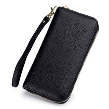 RFID blocking female fashion wallet bag with wristlet large capacity genuine leather long clutch purse cell phone bag for women