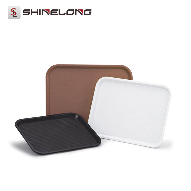 P146 High Quality ABS Oblong Anti Skid Check Food Serving Tray