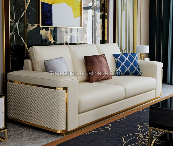 OE-FASHION Golden Metal Frame Office Sofa Set Designs Stainless Steel Sofa Set