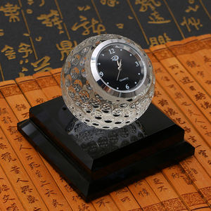 Crystal golf ball trophy with clock,crystal golf gifts