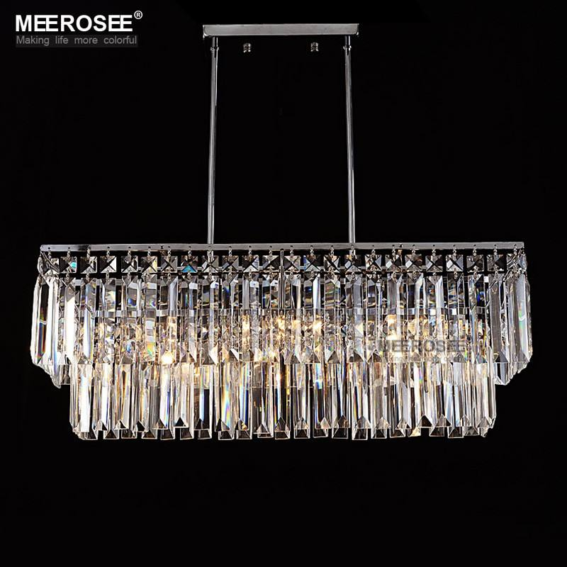 Modern Chandelier Crystal Light Fitting Rectangle Hanging Lamp for Dining room Lustres Home Lighting Luminaire MD83006