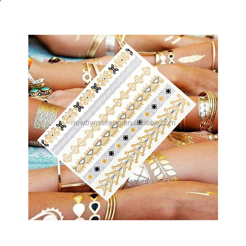 New beauty designs gold body sticker long lasting waterproof temporary sticker tattoo