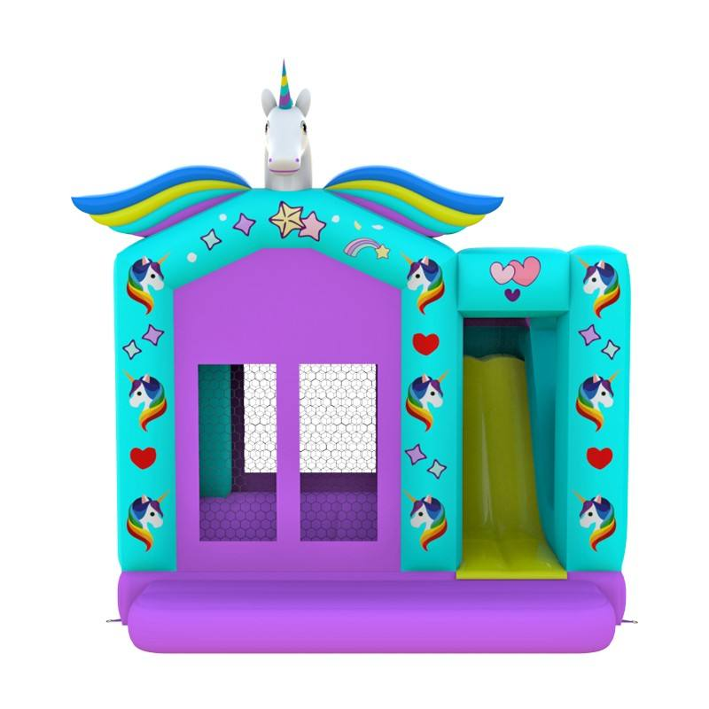 New design pretty unicorn inflatable combo bouncer For Kids