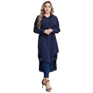 2020 Hot sale new design Islamic clothing tunic tops muslim dresses lady long sleeve dubai cotton blouse for muslim woman