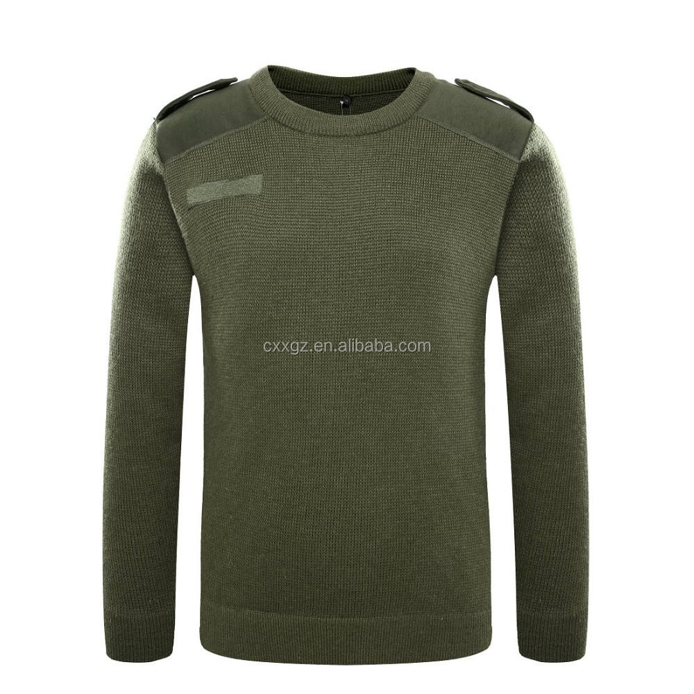 Military green men pullover 50 wool good price custom sweater