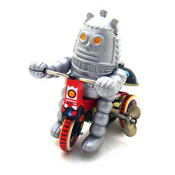 Metal Material Baby Robot on Tricycle Wind Up Toys Desktop Decoration
