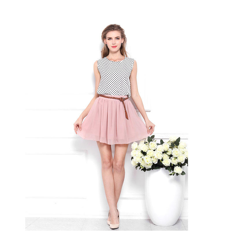 Wholesale OEM/ODM Factory - Women's High Waist Double Cool Chiffon Skirt Pleated Large Swing Casual Skirt