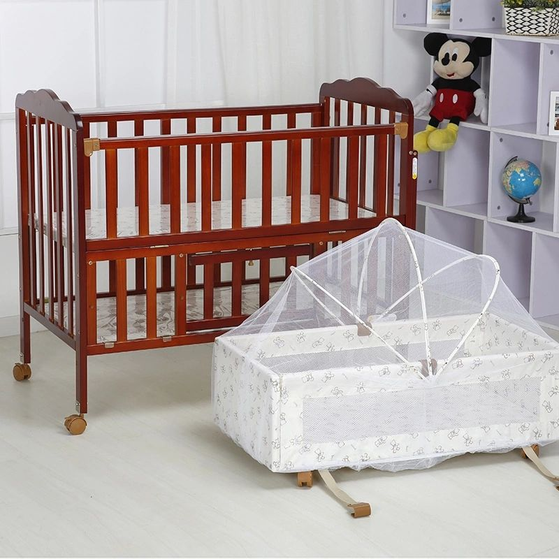 Multipurpose Extensible Baby Crib Day Bed Baby Cradle Of Pine Wood With Mosquito Net