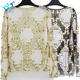 New Model European Women Embroidery Sequin Beading Mesh Blouses O-Neck Fancy Party Crop Tops Club Wear
