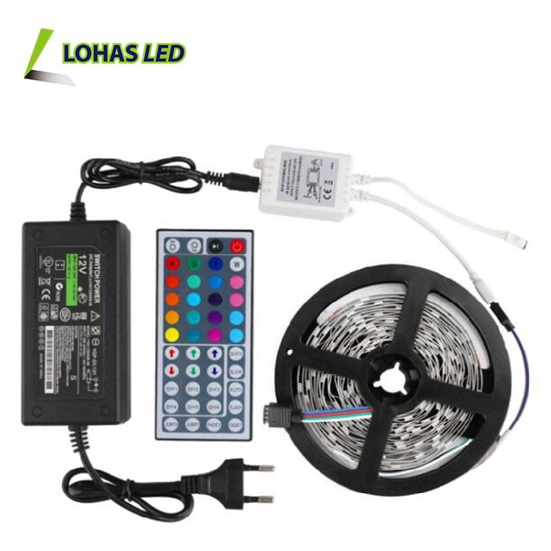Super Heldere LED Flexibele Strip Waterdicht IP65 12 V DC SMD5050 5/M 60 LEDs/M Adapter Afstandsbediening RGBW RGB LED Strips