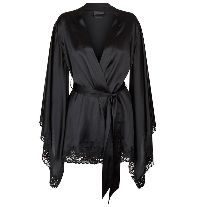Luxury Wholesale High Quality Black Solid Color Short Kimono Women Bridesmaid Satin Robe Femme Manufacturer Made in China