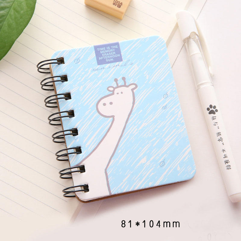 Wholesale Stock Cartoon Spiral Notebook Candy Color Portable Mini Notebook