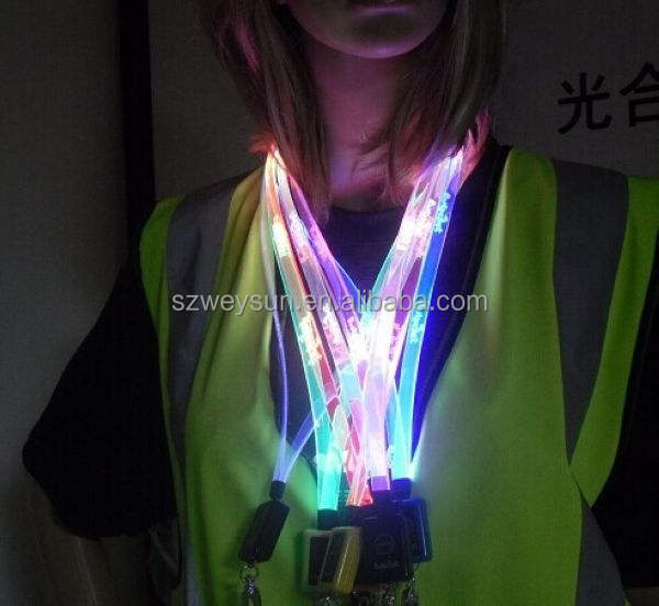 Glowing fasional LED shining neck strap optical fiber flashing lanyard