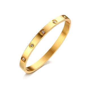 Most popular stainless steel metal gold plated bracelet bangle set