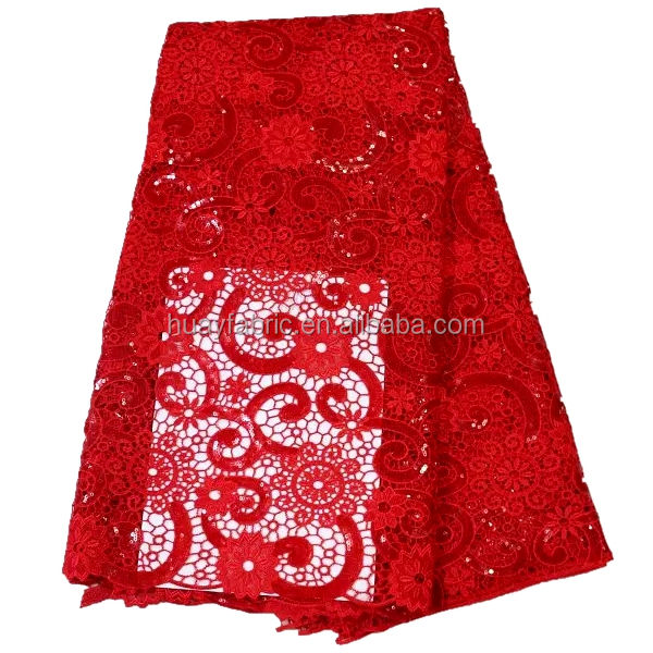 2016 Newest Red Flower Sequins Guipure Lace african aso oke luxury laces HY0305